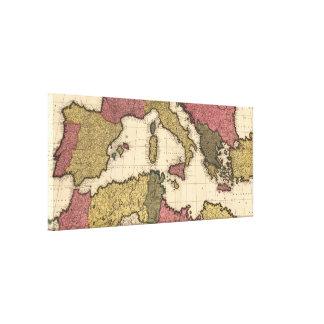 Vintage Karte vom Mittelmeer (1695) Galerie Falt Leinwand