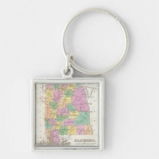 Vintage Karte von Alabama (1827) Silberfarbener Quadratischer Schlüsselanhänger