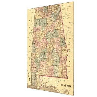 Vintage Karte von Alabama (1848) Galerie Faltleinwand
