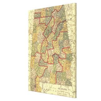 Vintage Karte von Alabama (1911) Gespannte Galeriedrucke