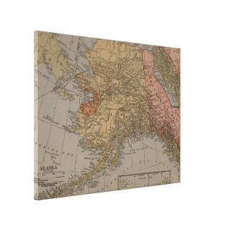 Vintage Karte von Alaska (1910) Gespannter Galeriedruck