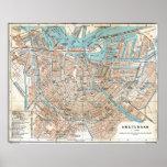 Vintage Karte von Amsterdam (1905) Poster