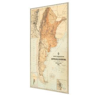 Vintage Karte von Argentinien (1882) Gespannter Galerie Druck