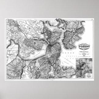 Vintage Karte von Boston Massachusetts (1871) BW Poster