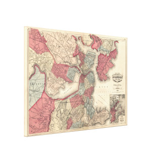 Vintage Karte von Boston Massachusetts (1871) Leinwanddruck