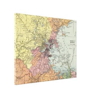 Vintage Karte von Boston Massachusetts (1903) Leinwanddruck