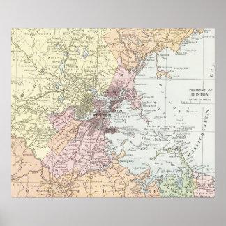 Vintage Karte von Boston Massachusetts (1903) Poster