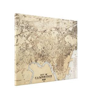 Vintage Karte von Cambridge Massachusetts (1877) Leinwanddruck