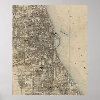Vintage Karte von Chicago (1899) Poster
