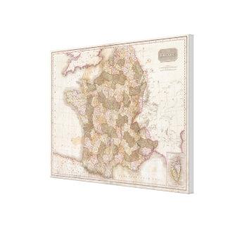 Vintage Karte von Frankreich (1818) Leinwand Drucke