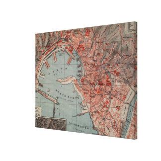 Vintage Karte von Genua Italien (1894) Leinwand Drucke