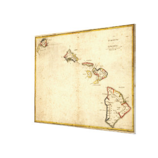 Vintage Karte von Hawaii (1837) Galerie Falt Leinwand