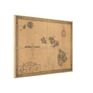 Vintage Karte von Hawaii (1876) Galerie Falt Leinwand