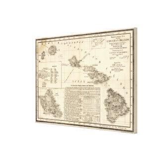 Vintage Karte von Hawaii (1893) Leinwanddrucke