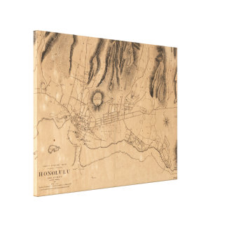 Vintage Karte von Honolulu Hawaii (1887) Leinwanddruck