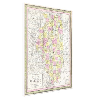 Vintage Karte von Illinois (1850) Galerie Faltleinwand