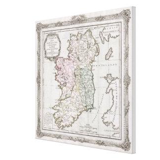 Vintage Karte von Irland (1766) Gespannter Galerie Druck