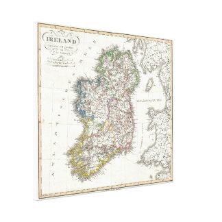 Vintage Karte von Irland (1841) Galerie Gefaltete Leinwand