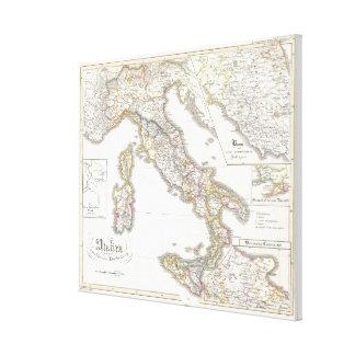 Vintage Karte von Italien (1850) Galerie Falt Leinwand