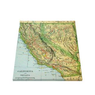 Vintage Karte von Kalifornien und von Nevada Gespannte Galerie Drucke