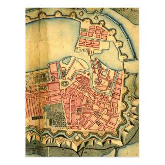 Vintage Karte von Kopenhagen Dänemark (1728)