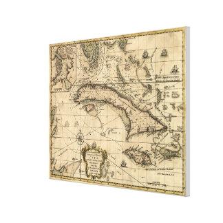 Vintage Karte von Kuba (1762) Galerie Gefaltete Leinwand