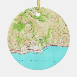 Vintage Karte von Malibu Kalifornien (1950) Keramik Ornament