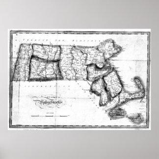 Vintage Karte von Massachusetts (BW 1827) 2 Poster