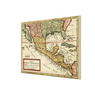 Vintage Karte von Mexiko (1708) Gespannte Galerie Drucke