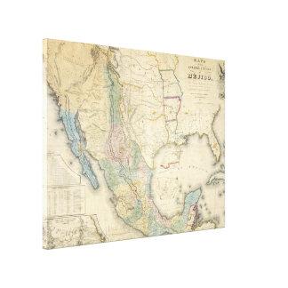 Vintage Karte von Mexiko (1847) Leinwanddrucke