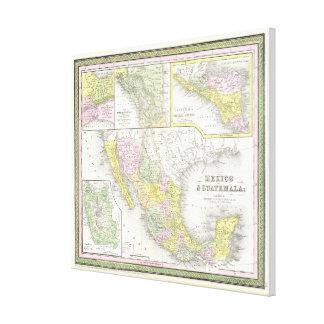 Vintage Karte von Mexiko (1850) Gespannter Galerie Druck