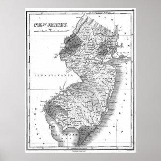 Vintage Karte von New-Jersey (1827) BW Poster
