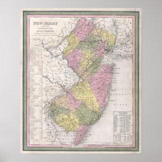 Vintage Karte von New-Jersey Poster