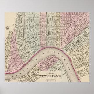 Vintage Karte von New Orleans (1880) Poster