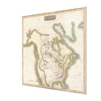 Vintage Karte von Nordamerika (1814) Galerie Gefaltete Leinwand
