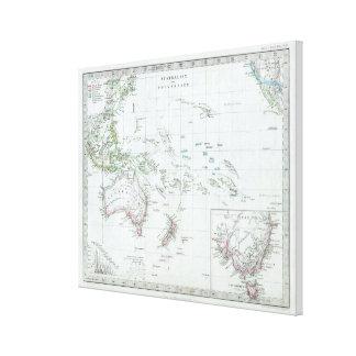 Vintage Karte von Ozeanien (1862) Leinwanddruck