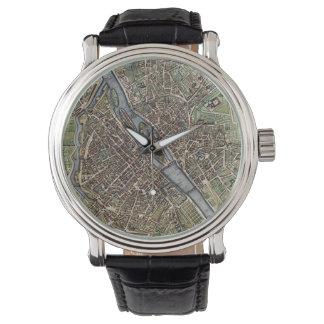Vintage Karte von Paris (1657) Uhren