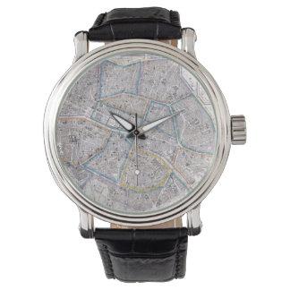 Vintage Karte von Paris (1865) Armbanduhr