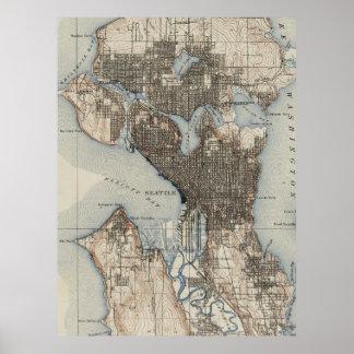 Vintage Karte von Seattle Washington (1908) Poster