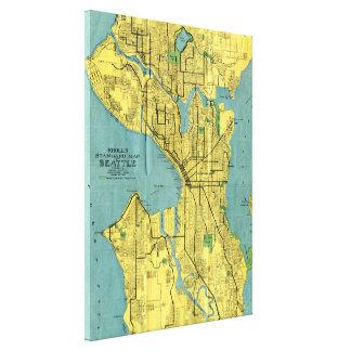 Vintage Karte von Seattle Washington (1914) Galerie Faltleinwand