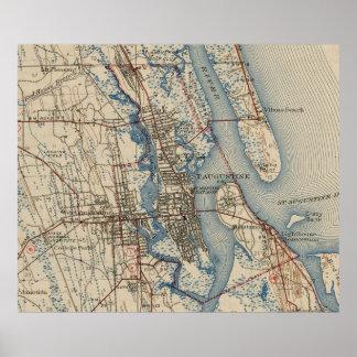 Vintage Karte von St Augustine Florida (1937) Poster