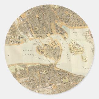 Vintage Karte von Stockholm (1899) Runder Aufkleber