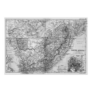Vintage Karte von Südafrika (1892) BW Poster