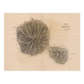 Vintage Karte von Tahiti (1845) Postkarten