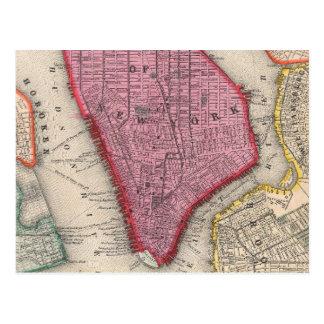 Vintage Karte von unterem New York City (1860)