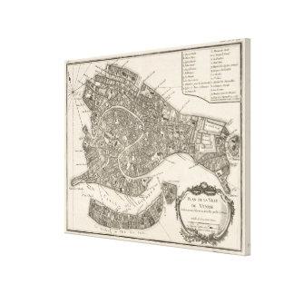 Vintage Karte von Venedig Italien (1764) Gespannter Galeriedruck