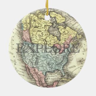 Vintage Karte von vereinigtem Staat erforschen Keramik Ornament