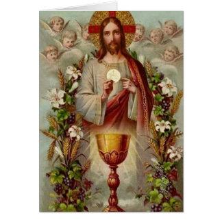 Vintage katholische Massen-anbietenkarte Karte