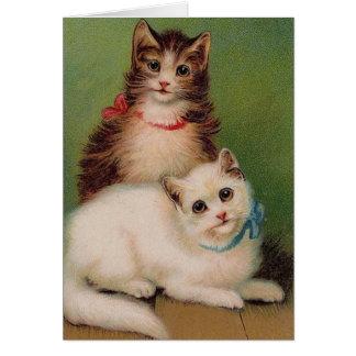 Vintage Katzen-Anmerkungs-Karte Grußkarte