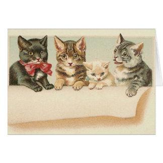 Vintage Katzen-Familien-Porträt-Anmerkungs-Karte Grußkarte